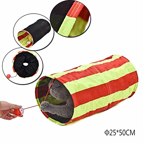 Mini Striped Pet Tunnel with Ball Cat Play Tunnel Funny Cat Long Tunnel Kitten Play Toy Collapsible Bulk Cat Toys