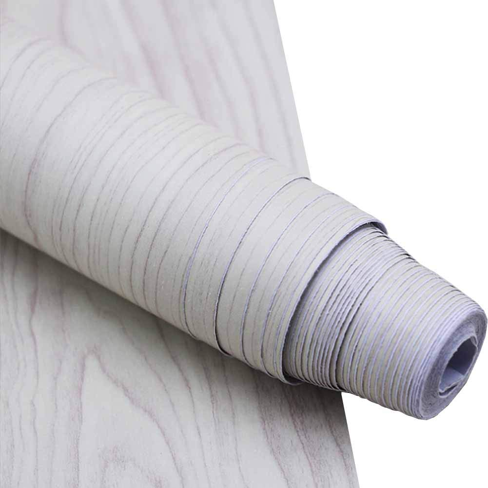 White Wood Peel and Stick Wallpaper, Wall Decor Faux Wood Easy Contact Easy Removable Wall Paper for Furniture Cabinets Living Rood Kitchen 17.71X 393.7 inch Roll POPPAP
