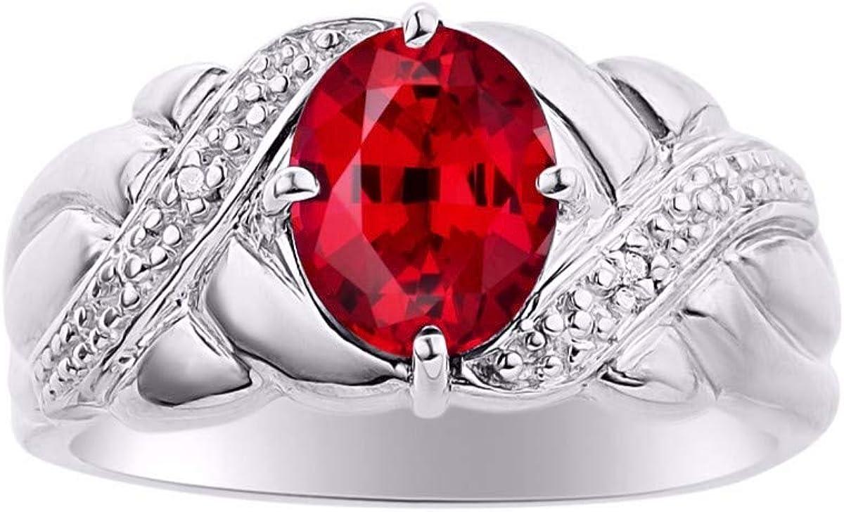RYLOS - Anillo de plata de ley para mujer con piedras preciosas ovaladas y diamantes brillantes auténticos en esmeralda, rubí y zafiro, gran anillo para dedo medio o puntero