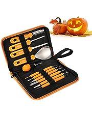 JINOO Pompoensnijset, 11 stuks, roestvrij staal, pompoensnijden, roestvrij staal, pompoen-gereedschapsset voor kinderen, Halloween Jack-O-lantaarns, carving decoratie