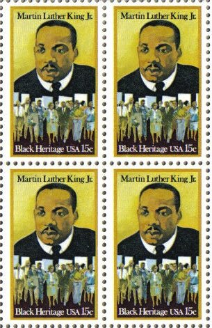 MARTIN LUTHER KING JR. ~ BLACK HERITAGE ~ BLACK HISTORY #1771 Block of 4 x 15 cents US Postage Stamps ()