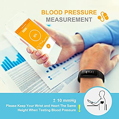 Fitness Activity Tracker, Wireless Smart Band Heart Rate Monitor Calorie Step Distance Counter Sleep Wearable Recorder MSG Call Push for Android & iOS - Black