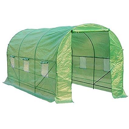 HOMCOM - Invernadero caseta 450 x 200 x 200 Jardin terraza Cultivo de Plantas semilla