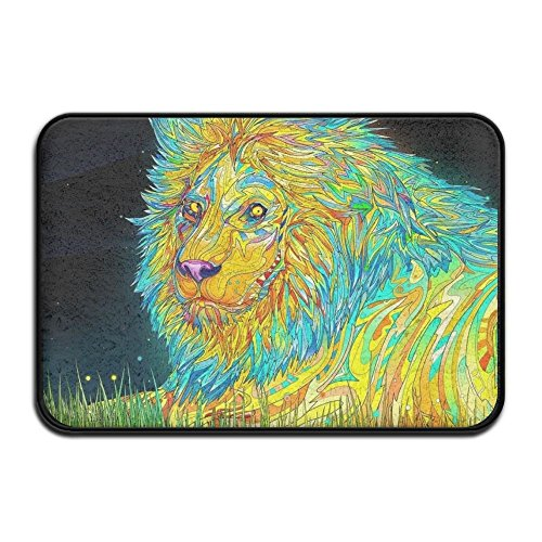 - HOMESTORES 17x24 Inch Memory Foam Bath Mat Non Slip Absorbent Super Cozy Velvet Bathroom Entrance Rug Carpet - Colorful Lion King Painting Print