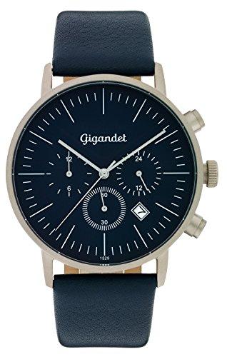 Gigandet Quarz Herren-Armbanduhr Minimalism III Dualzeit Uhr Datum Analog Lederarmband Blau Silber G22-003