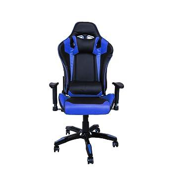 huigou HG Silla Giratoria De Oficina Gaming Chair Apoyabrazos Acolchados Silla Racing (Negro/Azul)
