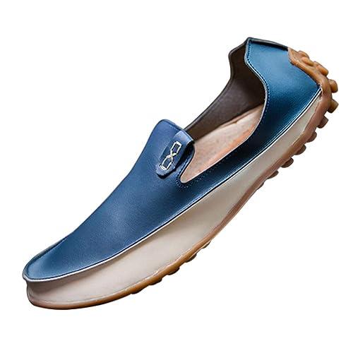 Yudesun Zapatos Mocasines Zapatilla Hombre - Hombres Cuero Planos Calzado Barco Cubierta Conducción Oficina Business Smart Trabajo Informal Formal Boda ...