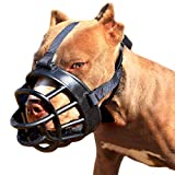 Moonpet New Silicone Rubber Basket Dog Muzzle - Anti Chewing Biting Barkingg - Soft Adjustable Breathable Safety Mask for Small Medium Large Dogs Mouth Cover