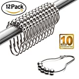 Cute Shower Curtains Shower Curtain Hooks Rings Chrome Metal, LeHom 12 Piece Set Stainless Steel Rust Resistance For Bathroom Shower Curtain Rod, Cute Cucurbit Shape