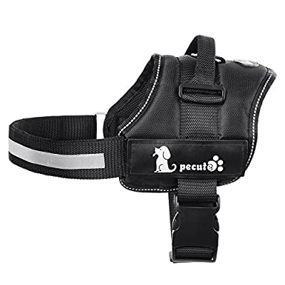 Pecute Dog Vest Harness Soft Padded with Removable Reflective Patches, Adjustable Strap and Durable Nylon Handle for Walking and Training