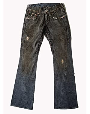 New True Religion Men's Vintage Flare Denim Jeans - Joey Medium - Black Vintage