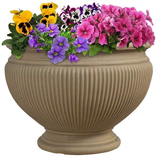 Sunnydaze Elizabeth Ribbed Urn Flower Pot Planter, Outdoor/Indoor Unbreakable Double-Walled Polyresin, Fade-Resistant Pebble Grey Finish, Single, 16-Inch Diameter
