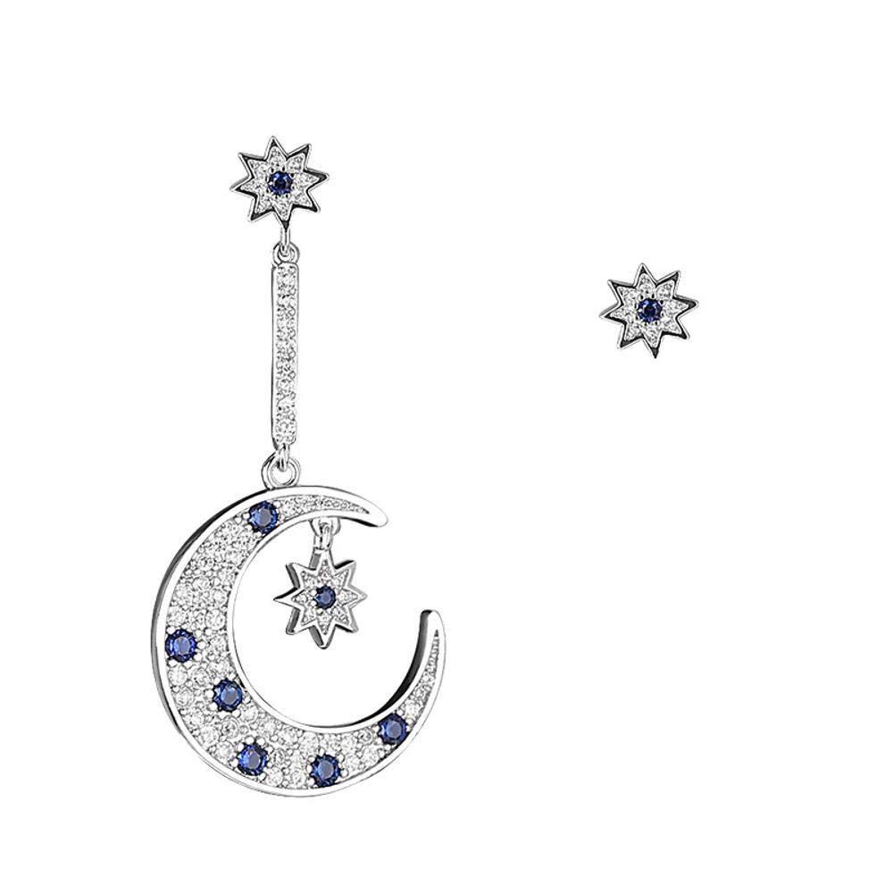 Weiwei Men's Earrings Men's Ear Nails Earrings Asymmetrical Star Moon Large-5.12.4cm, Short bi-0.80.8cm
