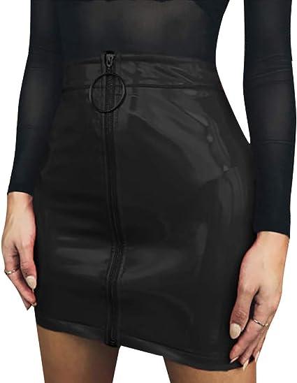 Oferta amazon: Minifalda de Mujer con Cremallera Material Falda Lápiz de Cintura Alta Mini Falda Corta de Moda de Cuero y Algodón Vestido Inferior Sexy y Elegante Skirt para Casual Fiesta Cóctel Talla XL