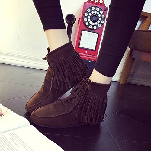increasing stealth flat boots tube short Tassels NSXZ boots heel 90160CM BROWN qga5IFx