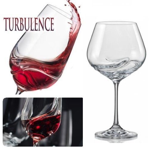 Bar Amigos Pack Of 2 Turbulence Deluxe Bohemian Crystal Wine Glasses Decanting Special Unique Wave Shaped Design For Better Aeration 570Ml/20 Ounce Burgundy