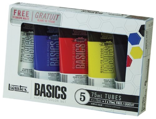 Liquitex Basics Acrylic Color Set, 4-pack of 75mL tubes with