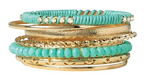 The Paragon Stacking Bangle Bracelets - Set of 8, Stacked Bracelet Set (Gold Bracelet Stackable)