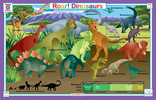 Tot Talk Dinosaur Educational Placemat for Kids, Washable and - Placemat Dinosaur
