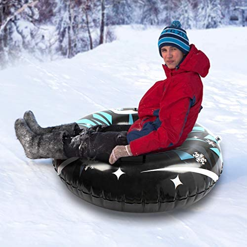 SANKUU Snow Tube,47 in Heavy Duty Inflatable Snow Sled for Kids and Adults, Giant Sledding Tubes Made by Thickening Material of 0.6mm