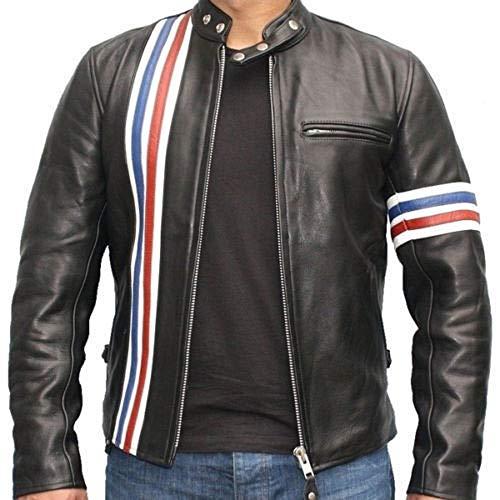 Grand Prix Jacket - Peter Fonda Le Men Rider Grand Prix Retro Black Biker Real Leather Jacket (S)
