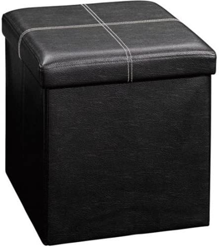 Azadx 15 Storage Ottoman, Faux Leather Folding Storage Tufted Ottoman Cube Foot Rest Stool Seat, Square Shape Footstool, Versatile Storage Box 15 Black Style3