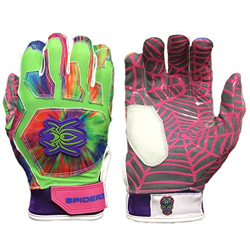 Spiderz WEB Baseball Batting Glove with Silicone Spider Web Palm (Tie Dye, Youth Large)
