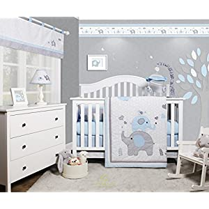 GEENNY OptimaBaby Blue Grey Elephant 6 Piece Baby Nursery Crib Bedding Set