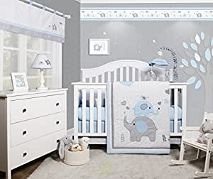 Amazon Com Geenny Optimababy Blue Grey Elephant 6 Piece