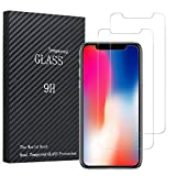 #1: Vomach 2-packs iPhone X Screen Protector, Tempered Glass Screen Protector High Definition Clear Screen Protector