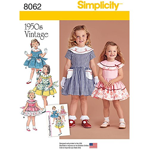 - Simplicity 8062 Vintage 1950's Fashion Girl's Dress Sewing Pattern, Sizes 1/2-3