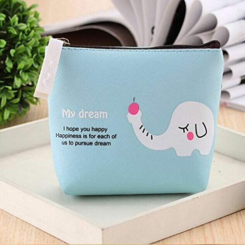 - Card Storage Bag PU Cute For Women Kid Girl Coin Bag Change Pouch Purse Wallet (color - blue)