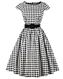 ZAFUL Women's 1950s Vintage Cap Sleeve V Neck Plaid Swing Dress with Pockets (S, Black with Belt)