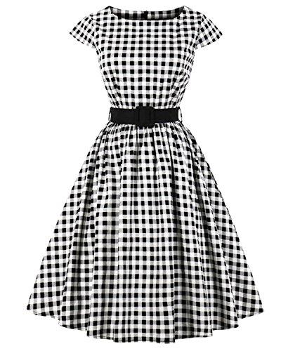 ZAFUL Women's 1950s Vintage Cap Sleeve V Neck Plaid Swing Dress with Pockets (XL, Black with (Garden Drop Waist Dress)