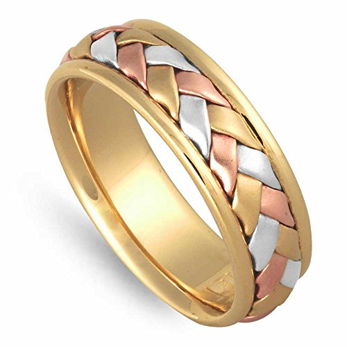 14k Tri-color (Yellow Rose White) Gold Braided Basket Men's Comfort-fit Wedding Bands (7mm) Size-8.5