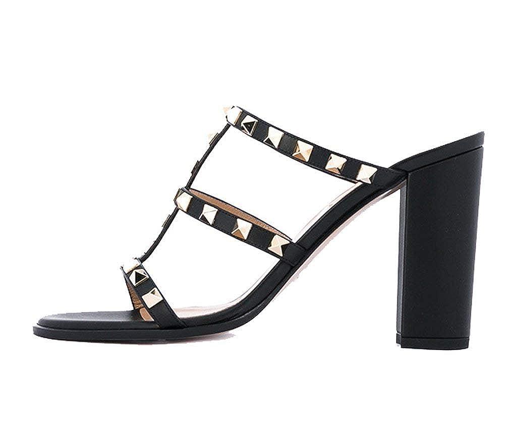 01227178b2a3c Ayercony Rivets Sandal, Woman's Cut-Outs Mule Slipper Block Heel Mules Open  Toe Shoes for Dress Party