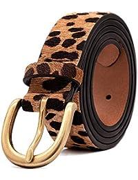 Womens Leopard Print Leather Belt for Jeans Belt with Alloy Buckle by LOKLIK