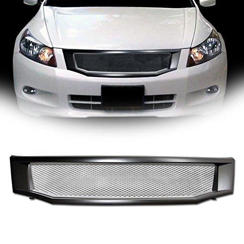 VXMOTOR 2008-2010 Honda Accord 4D 4Dr 4 Door Sedan Matte Black JDM T-R Aluminum Mesh Front Hood Bumper Grill Grille Cover Conversion (2009 Honda Accord Front Bumper)