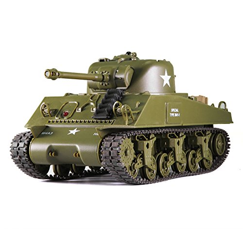 (Remote Control 2.4Ghz 1/30 Scale US M4A3 Sherman RC IR Battle Tank w/Sound)