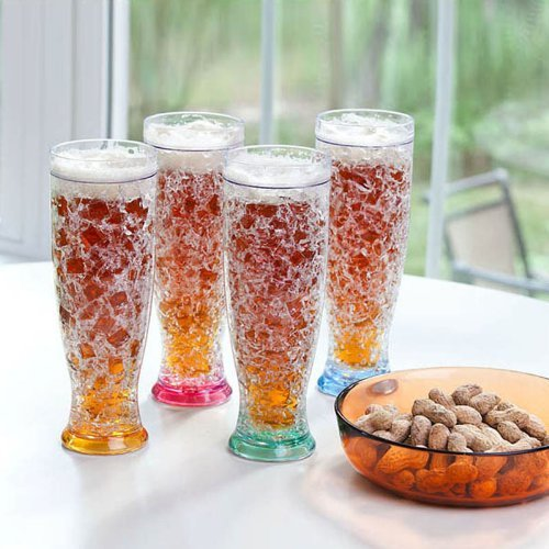 Lily's Home Gel Freezer Pilsner Shape Double Wall Beer Glass, Set of 4