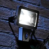 Auraglow 10W LED Low Energy Motion Activated PIR Sensor Security Floodlight Outdoor Wall Light - 150w EQV - Black