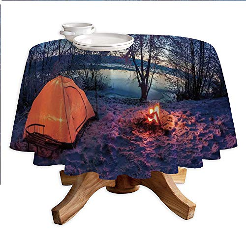 Apartment Decor Round Polyester Tablecloth,Dark Night Camping Tent Photo in Winter on Snow Covered Lands by The Lake,Dining Room Kitchen Round Table Cover,36