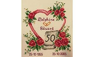 Vervaco - Cuadro de punto de cruz, diseño de aniversario de boda, multicolor