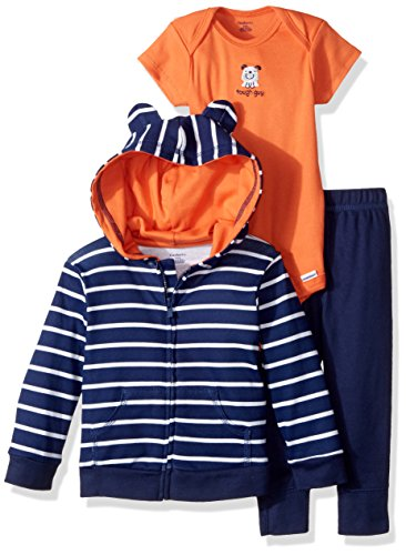 Gerber Baby Boy 3 Piece Hooded Jacket, Bodysuit and Pant Set, Tough Guy, 0-3 Months
