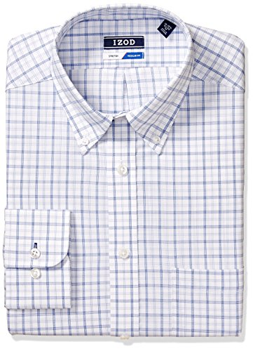 IZOD Men's Dress Shirts Regular Fit Stretch Check, Powder Blue, 18