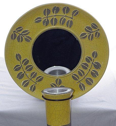 Bird Brain Yellow Ceramic Mirrored Wall Fire Pot (Ceramic Brain Bird)