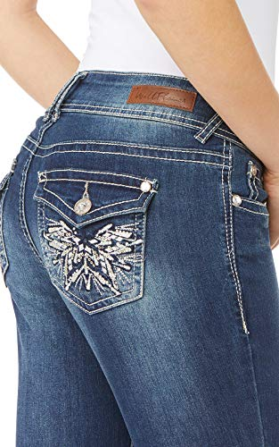 Pocket Embellished Back - WallFlower Women's Juniors Luscious Curvy Embellished Pocket Bootcut Jeans in Twinkle, 7