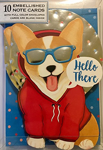 UPC 802126145180, Punch Studio/Molly & Rex Set of 10 Gold Foil Embellished Blank Note Cards ~ Fancy Die-Cut Hipster Corgi 14518