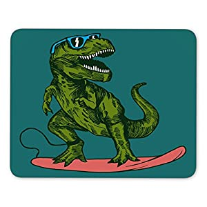 happy dinosaur surfer wearing sunglasses drawing Mouse pad gaming mouse pad mice pad mouse pad the office mat Mousepad Nonslip Rubber Backing