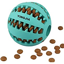 Dog Toy Ball, Nontoxic Bite Resistant Toy Ball for Pet Dogs Puppy Cat, Dog Food Treat Feeder Tooth Cleaning Ball,Dog Pet Chew Tooth Cleaning Ball Pet Exercise Game Ball IQ Training Ball (Blue)
